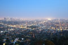 los angeles skyline downtown at night - stock photo