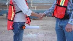 Industrial Workers Handshake Close Up Stock Footage