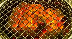 Charcoal fire grill with flame Stock Photos