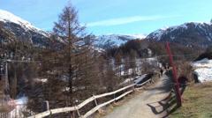 Zermatt natural landscape at Ski Paradise Matterhorn Stock Footage