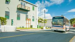 Bermudian Pink Public Transit Bus in St George's Stock Footage