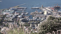 Distant view of Cape Town Harbour Stock Footage