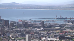 Pan of Cape town city and harbour Stock Footage