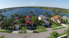 Lakefront homes in Florida aerial view Stock Footage