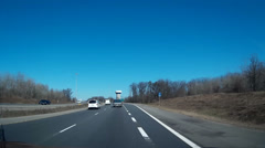 Driving shot on the highway  with blue sky - stock footage