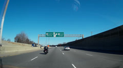 Driving shot on the highway  with blue sky Stock Footage