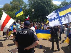 Ukrainian protesters in Washington, D.C. Stock Photos
