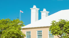 St. George's Flag and Style Building in the Bermudian Town Stock Footage