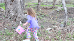 Kids Finding Eggs on Easter Morning. Stock Footage