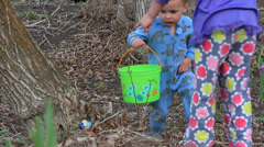 Pajama wearing easter egg hunters. Stock Footage