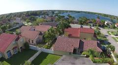 Residential neighborhood in Florida aerial view Stock Footage