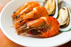 Seafood  with shrimps and mussels Stock Photos
