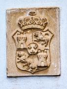 alhambra palace royal crest granada andalusia spain - stock photo