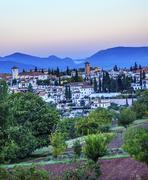 Granada cityscape churches andalusia spain from oilve gardens Stock Photos