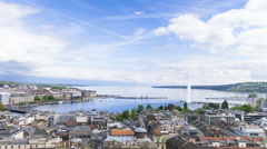 Panoramic view of city of Geneva, the Leman Lake and the Water Stock Footage
