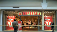 Aeropostale mall storefront - stock footage