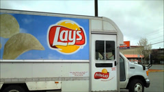 Lays Potato chip delivery truck Stock Footage