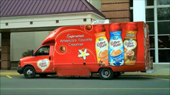 Coffee-Mate delivery truck Stock Footage