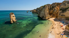 Famous Dona Ana Beach in Lagos, Time Lapse, Algarve, Portugal Stock Footage
