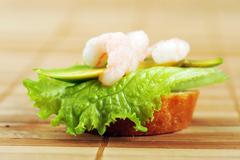 Sandwich  with shrimps Stock Photos