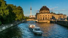 Museum Island on Spree River and Alexanderplatz TV Tower, Timelapse Video Stock Footage