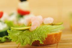 sandwich  with shrimps - stock photo
