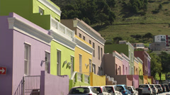 Colouful houses on hillside street, Cape Town - stock footage