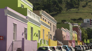 Stock Video Footage of Colouful houses on hillside street, Cape Town