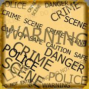 Warning, caution, crime, police  signs on yellow background Piirros