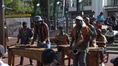 Street musicians, Victoria Wharf, Cape Town - stock footage