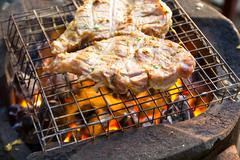 Stock Photo of grilled pork on the grill.