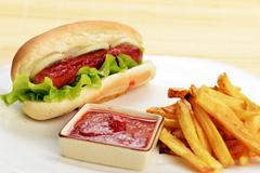 Appetizing  hot dog Stock Photos