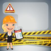 Businesswoman with danger tapes Stock Illustration
