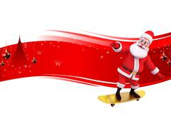 Santa claus standing on skating board with sign - stock illustration