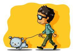 Stock Illustration of walking with dog
