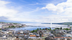 4k Panoramic view of city of Geneva, the Leman Lake and the Water Stock Footage