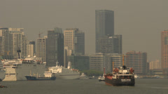 Ships on Huangpu River Shanghai with Skyline from Puxi Stock Footage