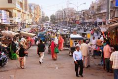 Busy street at sadar market, jodhpur, india Stock Photos