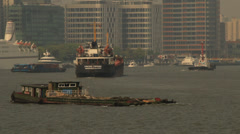 Transport Ship on Huangpu River Shanghai Stock Footage