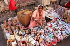 Indian woman selling bangels at sadar market, jodhpur, india Stock Photos