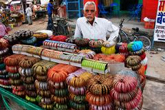 Stock Photo of indian man selling bangels at sadar market, jodhpur, india