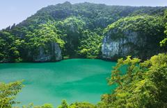 thale nai lagoon, mae koh island, ang thong national marine park, thailand - stock photo