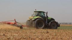Tractor plot The Field After Harvest Stock Footage