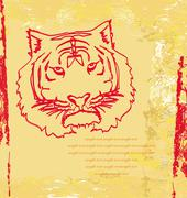abstracted doodles tiger vector - stock illustration