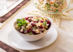 Herring salad with beetroot - selective sharpness-deep - stock photo