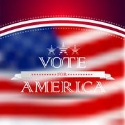 vote for america, election poster card design, blurred usa flag background - stock illustration
