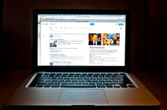 Laptop showing Google web search - stock photo