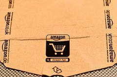 detail of typical Amazon package - stock photo
