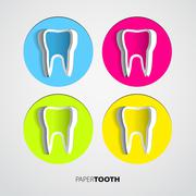 set of sticker papercut tooth on white background - vector illustration - stock illustration
