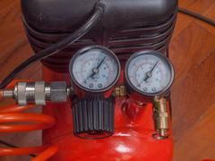 Air compressor manometer - stock photo